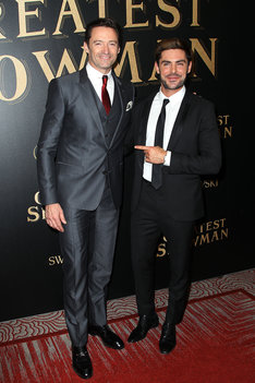 "- Brooklyn, NY - 12/8/17 - Twentieth Century Fox In partnership with Cunard and Swarovski for the world premiere of ""The Greatest Showman"" on Queen Mary 2 -Pictured: Hugh Jackman, Zac Efron -Photo by: Patrick Lewis/Starpix -Location: Queen Mary 2"